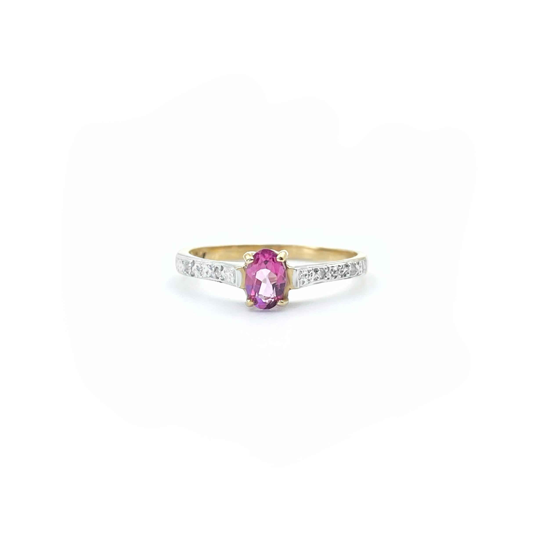 roze topaas vintage gouden ring met diamant pave