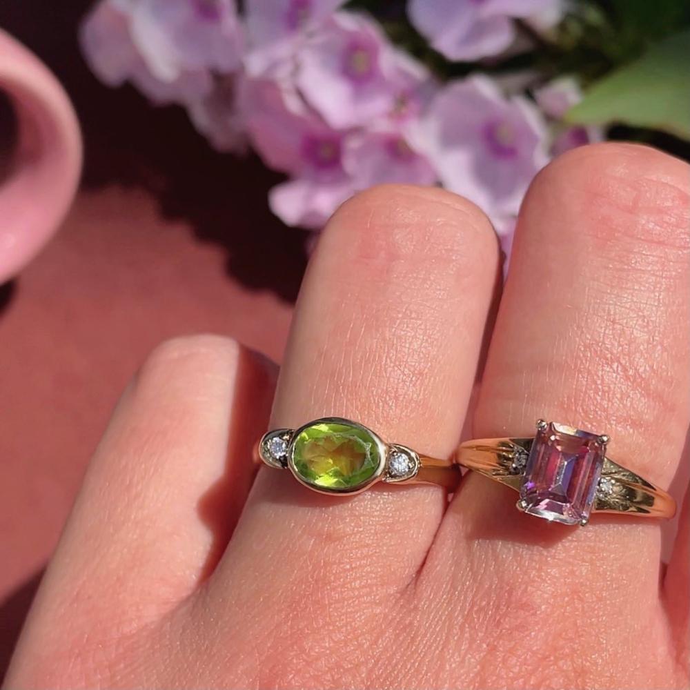 ring met peridoot vintage gouden ring