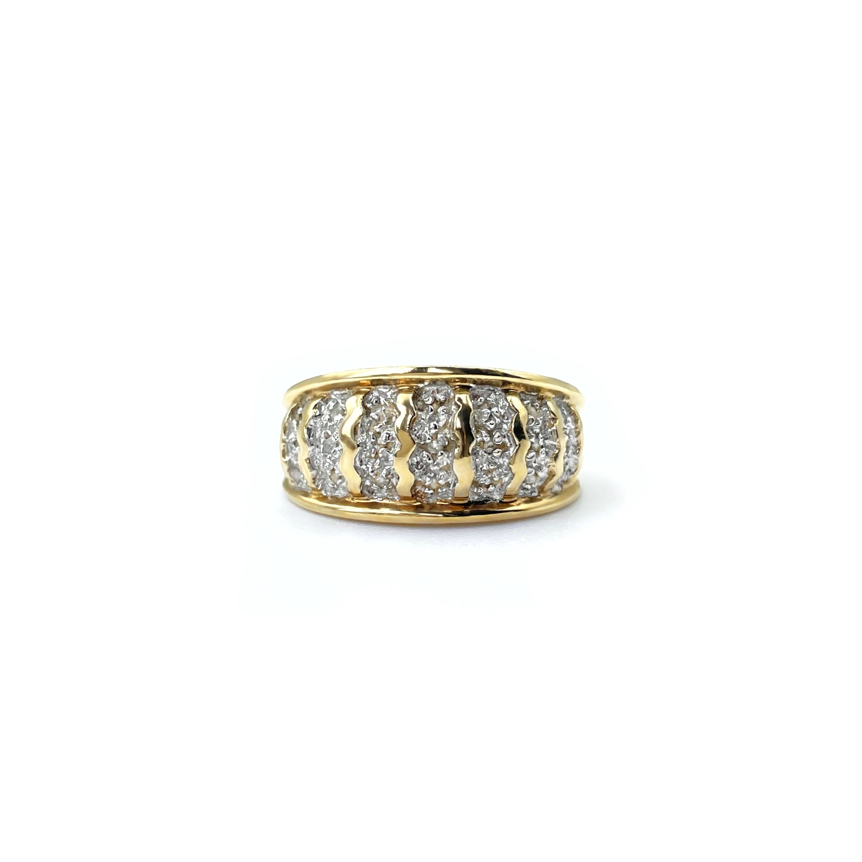 vintage ring diamant pave goud