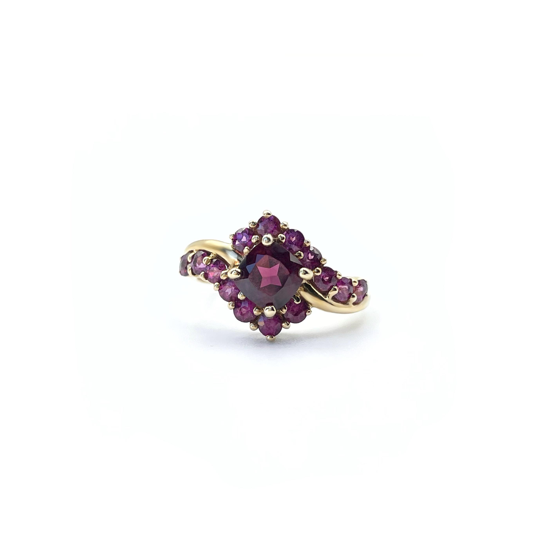 gouden cluster ring van roze granaat rhodoliet vintage ringen